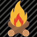 bonfire, campfire, camping, fire, flame, firewood, burn