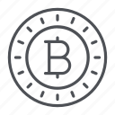 bitcoin, coin, crypto, crypto currency, line, thin, thin line icon