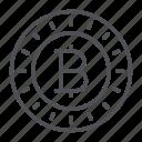 bitcoin, coin, crypto, crypto currency, line, thin, thin line icon