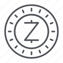coin, crypto, crypto currency, line, thin, thin line, zcash icon
