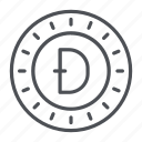 coin, crypto, crypto currency, dogecoin, line, thin, thin line icon