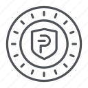 coin, crypto, crypto currency, line, pivx, thin, thin line icon