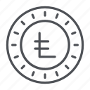 coin, crypto, crypto currency, leocoin, line, thin, thin line icon