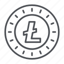 coin, crypto, crypto currency, line, litecoin, thin, thin line icon