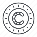 chaincoin, coin, crypto, crypto currency, line, thin, thin line icon