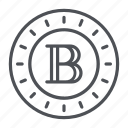 blackcoin, coin, crypto, crypto currency, line, thin, thin line icon