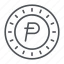 coin, crypto, crypto currency, line, potcoin, thin, thin line icon