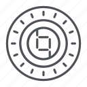 coin, crypto, crypto currency, line, thin, thin line, ybcoin icon