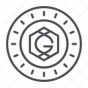 coin, crypto, crypto currency, gridcoin, line, thin, thin line icon