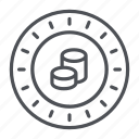 coin, crypto, crypto currency, line, novacoin, thin, thin line icon