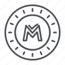 coin, crypto, crypto currency, line, monetaryunit, thin, thin line icon