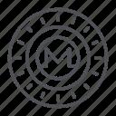 coin, crypto, crypto currency, line, monero, thin, thin line icon