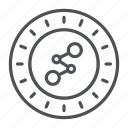 coin, crypto, crypto currency, line, spreadcoin, thin, thin line icon