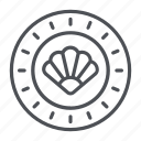 clams, coin, crypto, crypto currency, line, thin, thin line icon