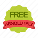 absolutely, free, guarantee, label icon