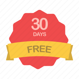days, free, guarantee, label, plan, trial icon