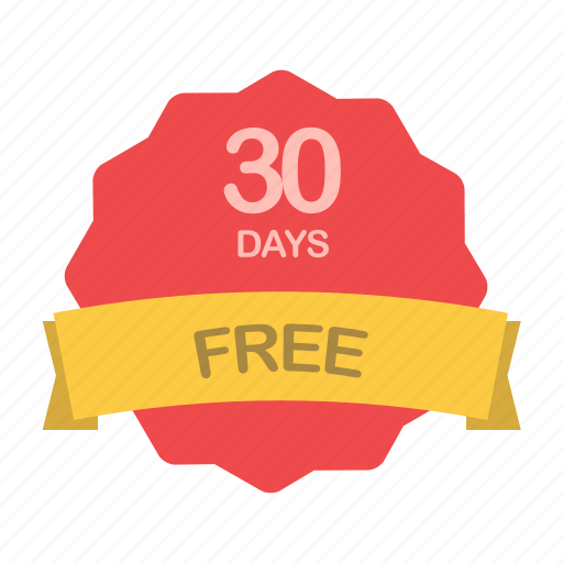 days, free, guarantee, label, plan, trial icon