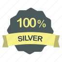 guarantee, label, percent, silver icon