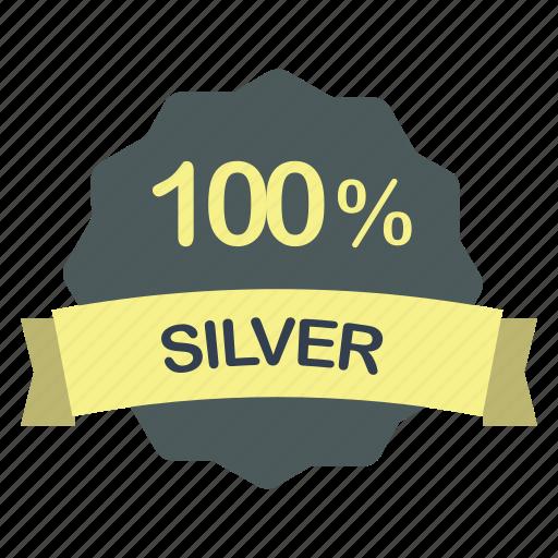 guarantee, label, percent, silver icon