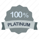 guarantee, label, percent, platinum icon