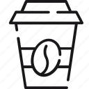 bean, beverage, cafe, coffee, drink, plastic, takeout icon