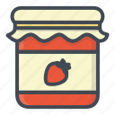 breakfast, food, jam, jar, strawberry icon