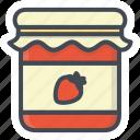 breakfast, food, jam, jar, strawberry icon