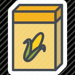 box, breakfast, corn, oatmeal icon