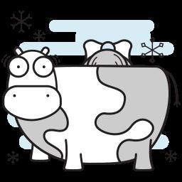 christmas, cow, farm, maid, milking icon