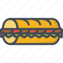 fastfood, food, sandwich, sub icon