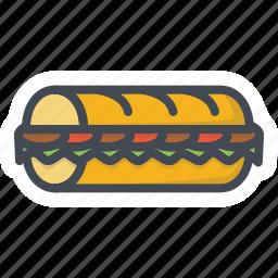 fastfood, food, sandwich, sub icon