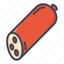 food, meat, salami, stickers icon
