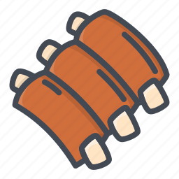 food, meat, ribs, stickers icon