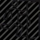 sign, door, emergency, exit, fire, person, run