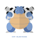 blastoise, kanto, pokemon, water icon