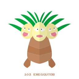 exeggutor, grass, kanto, pokemon, psy icon