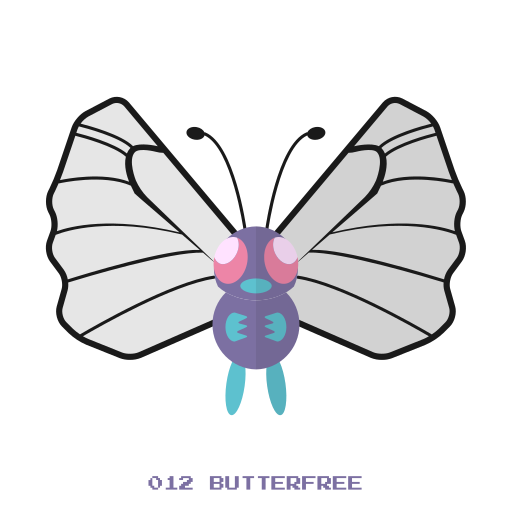 bug, butterfree, fly, kanto, pokemon icon