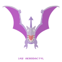 aerodactyl, flying, kanto, pokemon, rock icon