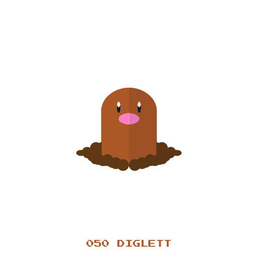diglett, ground, kanto, pokemon icon