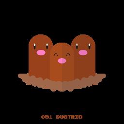 dugtrio, ground, kanto, pokemon icon