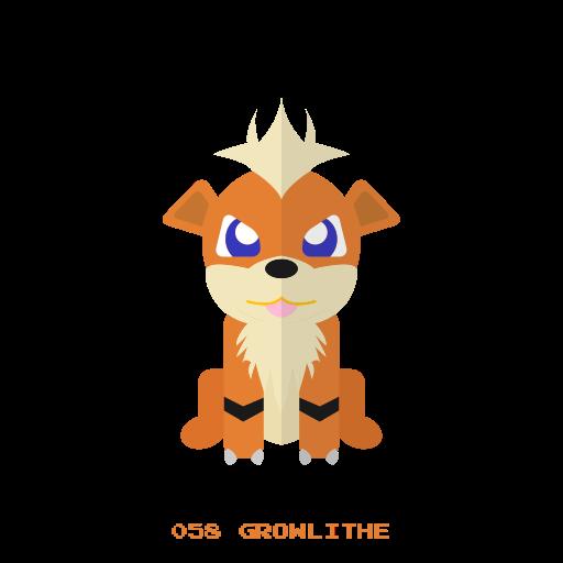 fire, growlithe, kanto, pokemon icon