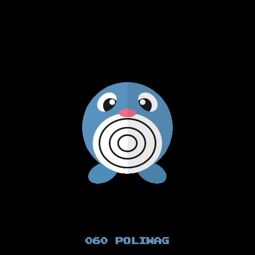kanto, pokemon, poliwag, water icon