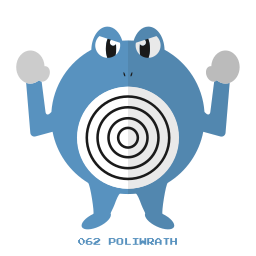 kanto, pokemon, poliwrath, psy, water icon