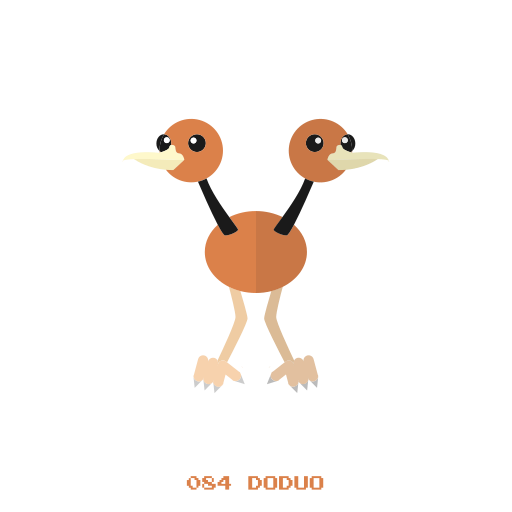 doduo, flying, kanto, pokemon icon