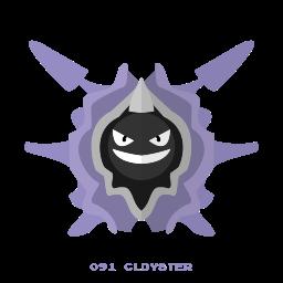 cloyster, kanto, pokemon, water icon