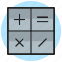 accounting, calculation, calculator, math, mathematics, symbols icon