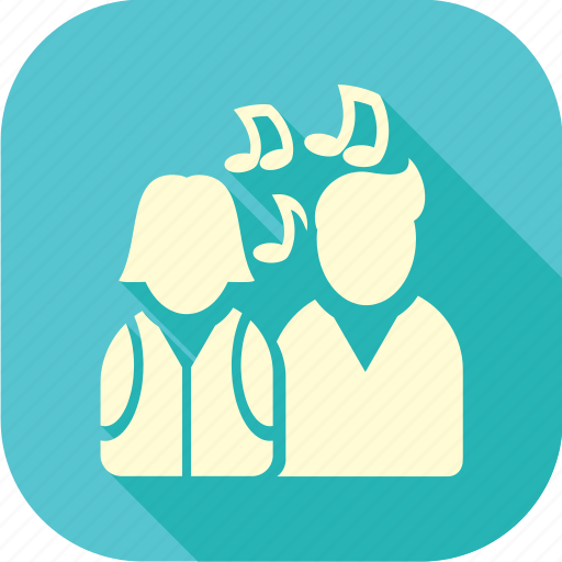 boy and girl, children, kids, long shadow, music students, singers, students icon