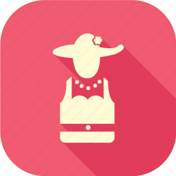 lady, lady with hat, long shadow icon