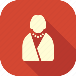 businesswoman, lady, long shadow, woman, woman with pearls icon