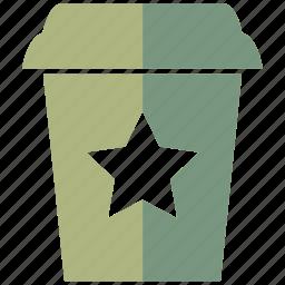 achievement, award, cappuccino, coffee, cup, favorite, star icon